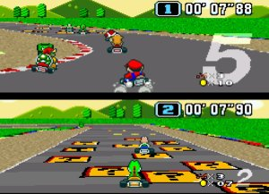 Super Mario Kart for SNES.
